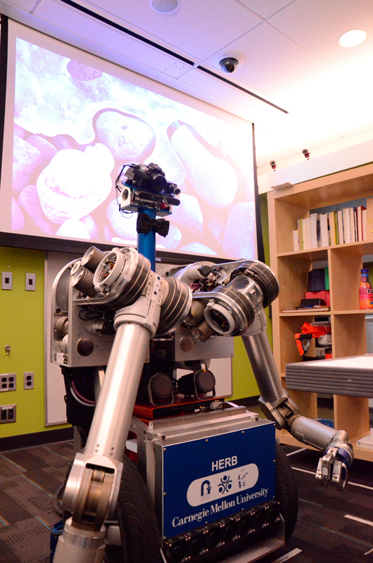 HERB hangs out in the Personal Robotics Lab. (credit: Kate Groschner/Photo Editor)