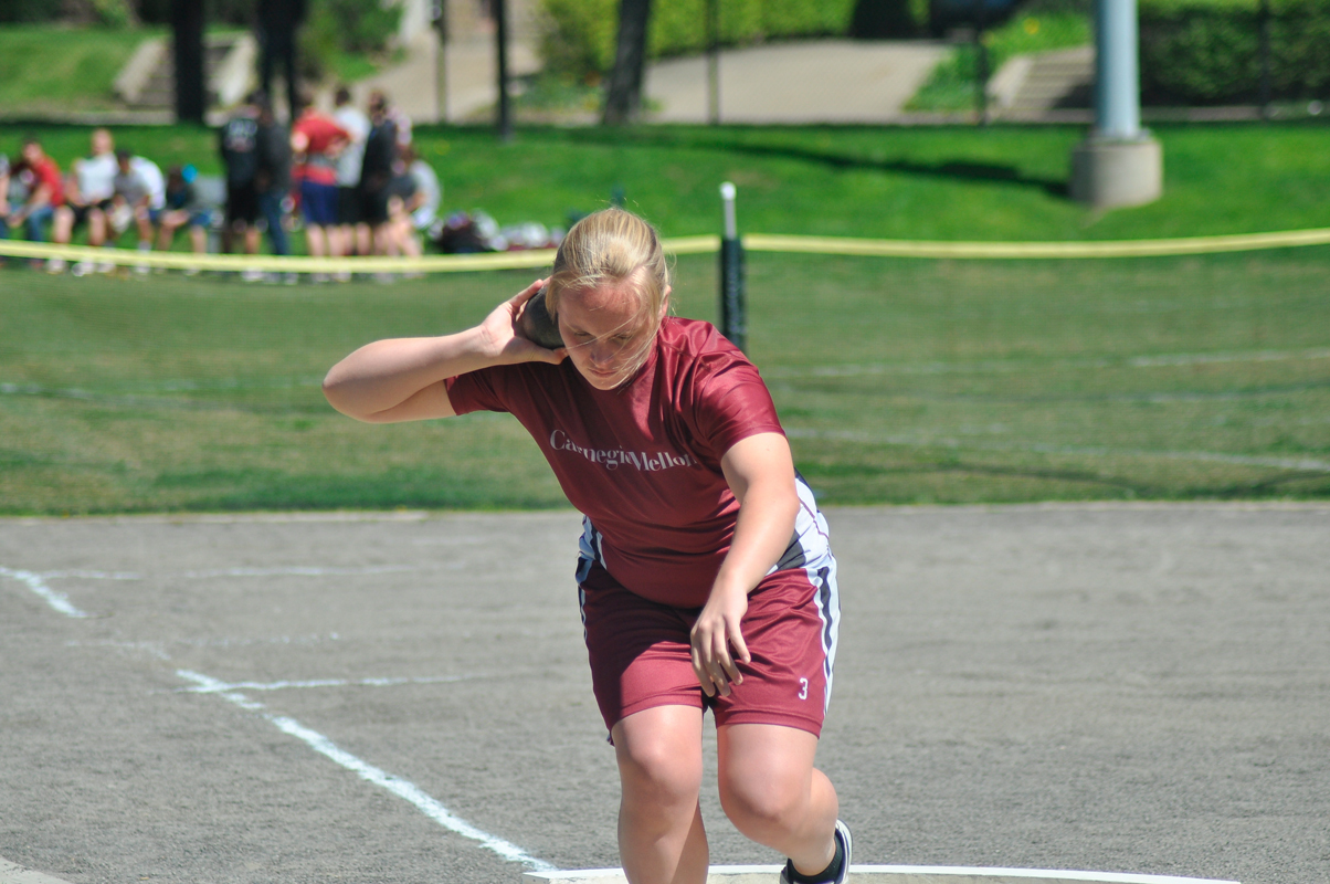 The Tartans competed in the shotput event at the first meet of the 2012 season. This weekend, the Tartans headed to Lexington, Va. for the Washington and Lee Track and Field Carnival. (credit: File photo by Alan Vangpat/Senior Photographer)