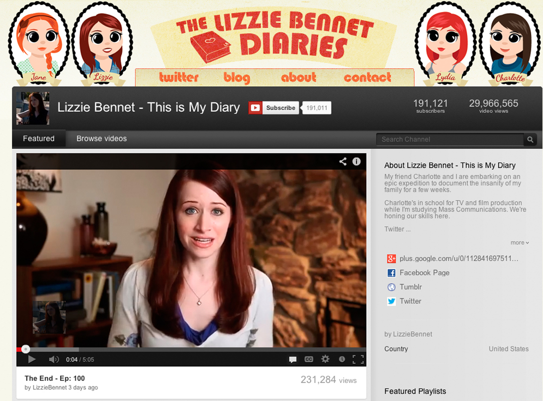 The Lizzie Bennet Diaries is an interactive web series that allows viewers to follow Lizzie on Facebook, Twitter, Tumblr, and YouTube. (credit: Screenshot courtesy of youtube.com)