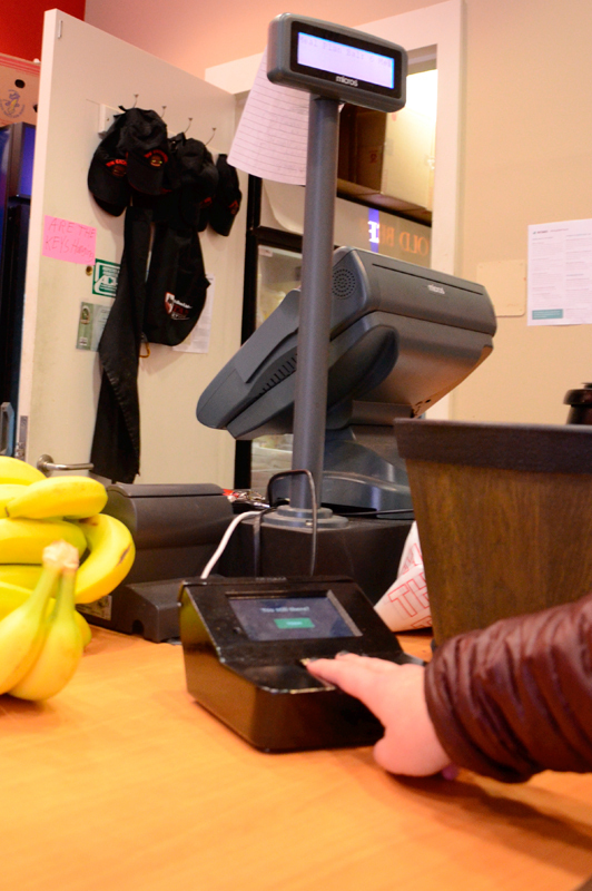 A PayTango station being used by a customer at The Exchange. (credit: Kate Groschner/Photo Editor)