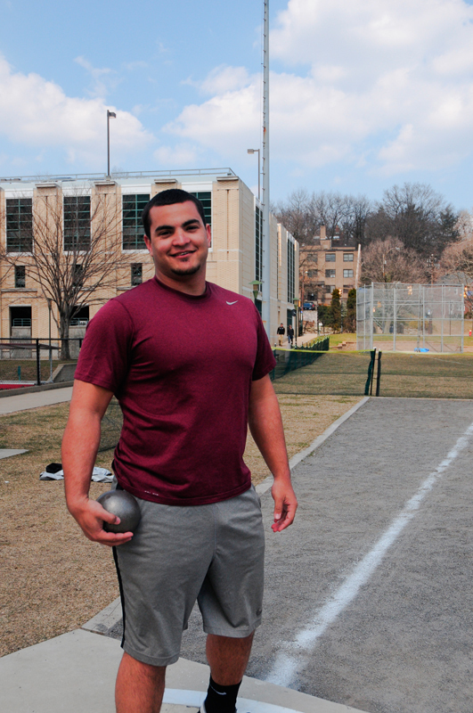 Zachary Erra-Hernandez came in first in the hammer throw, shot put, and discus throw events at the quad meet last Saturday. (credit: Kate Groschner/Photo Editor)