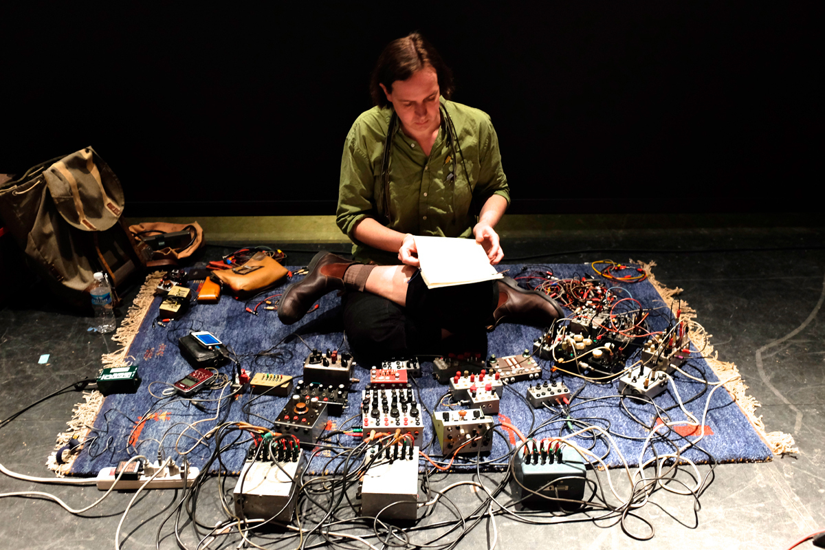 Local electronic musician and instrument builder Michael Johnsen filled Kresge Theatre with an experimental cacophony of sounds using this onstage array of cables and boxes. (credit: Andrew Viny/)
