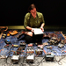 Local electronic musician and instrument builder Michael Johnsen filled Kresge Theatre with an experimental cacophony of sounds using this onstage array of cables and boxes.