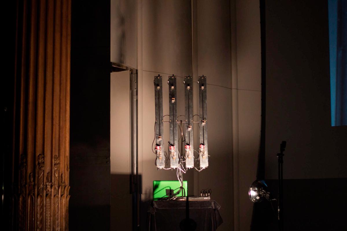 Carnegie Mellon art professor Eric Singer's robotic guitar plays computerized music. (credit: José Lopez/)