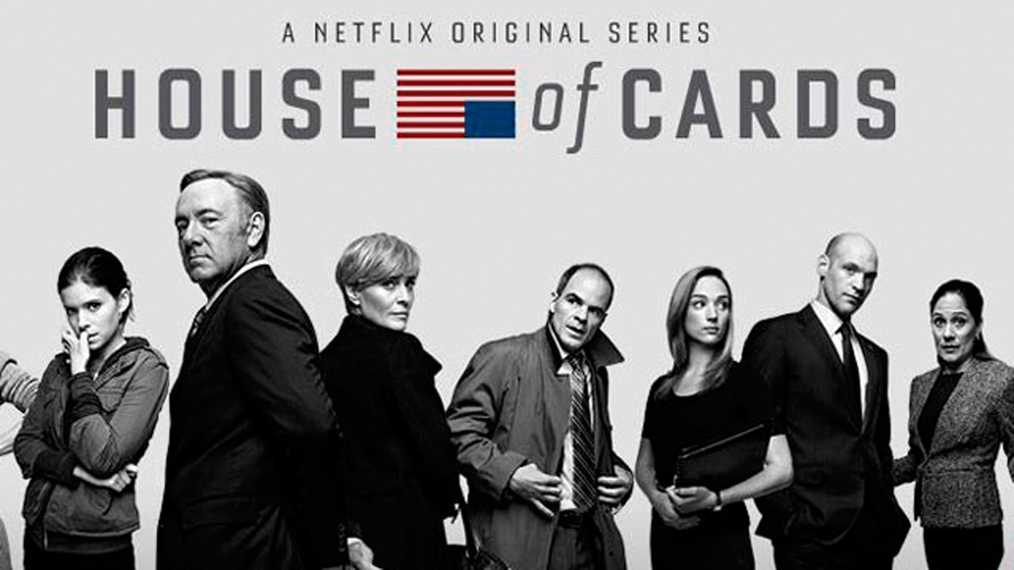 U.S. Representative Frank Underwood (second from left), his wife, Claire (third from left), and his paramour Zoe Barnes (left) navigate the trials of life in Washington politics in the Netflix original series House of Cards.  (credit: Courtesy of Wikimedia Commons)