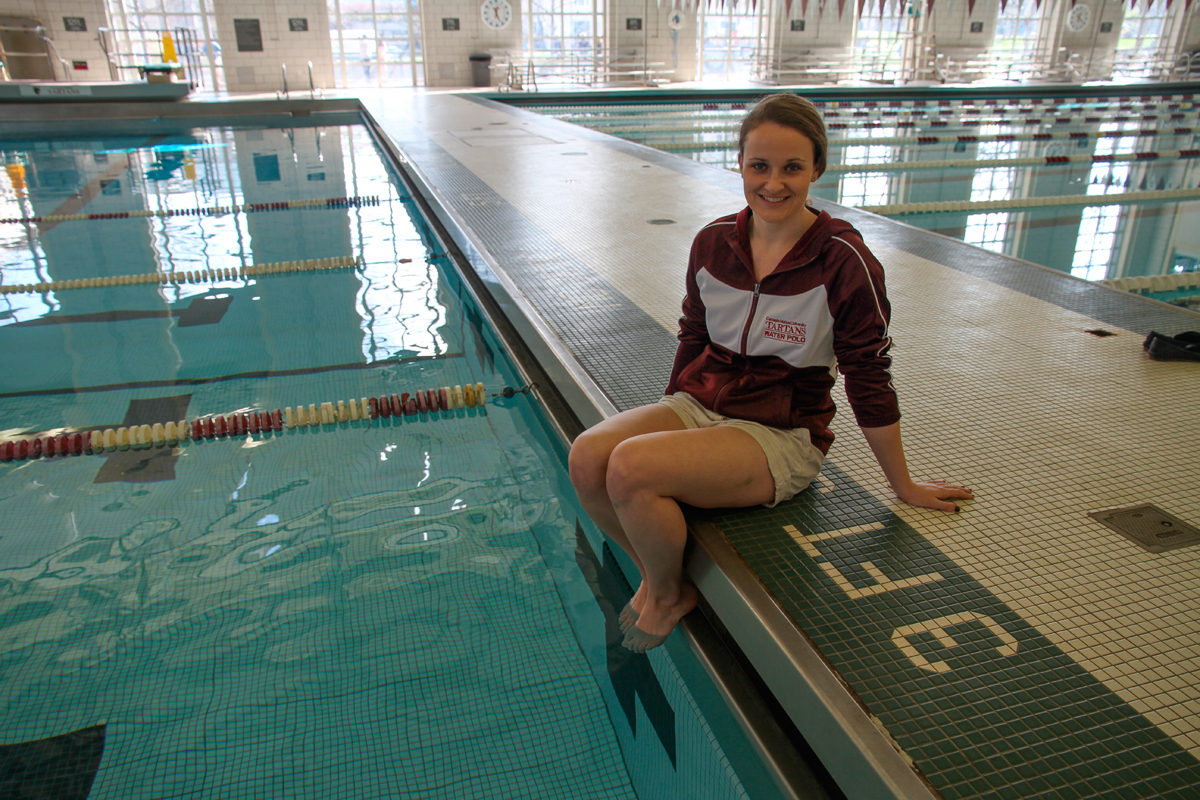 Master's student Alice Tripp has been a member of the women's water polo team since it was founded in 2009. (credit: Jonathan Carreon/Contributing Editor)