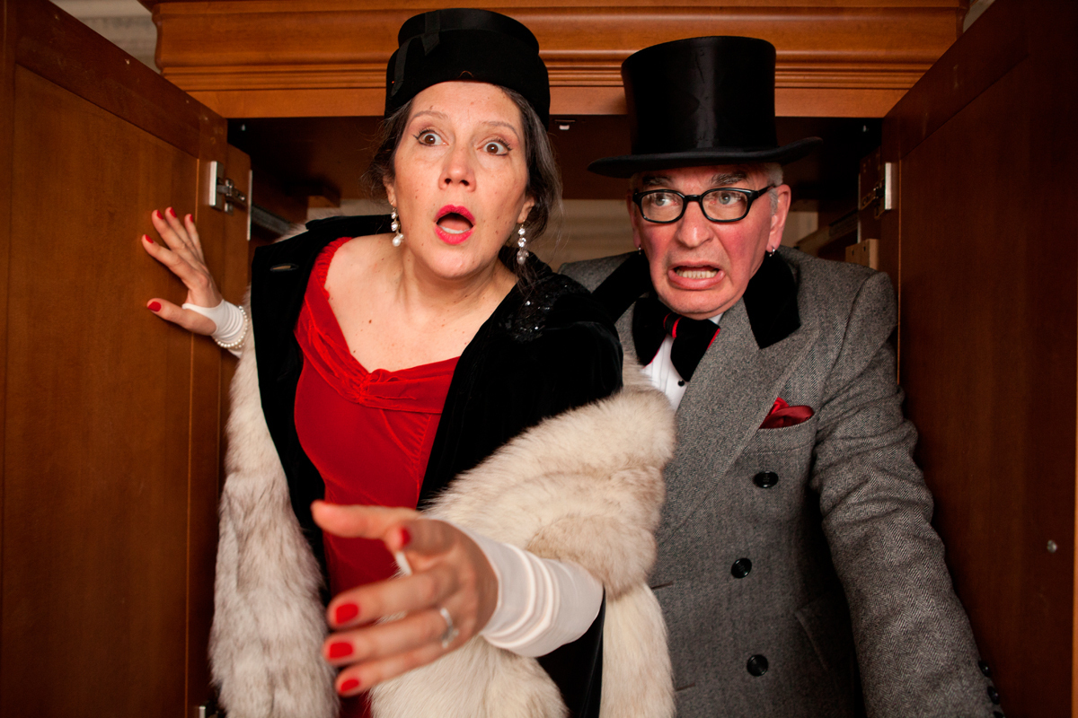 Man's parents, both unnamed, emerge from a closet. Though married, the two characters could not be more  different in terms of personality. (credit: Photo courtesy of Heather Mull)
