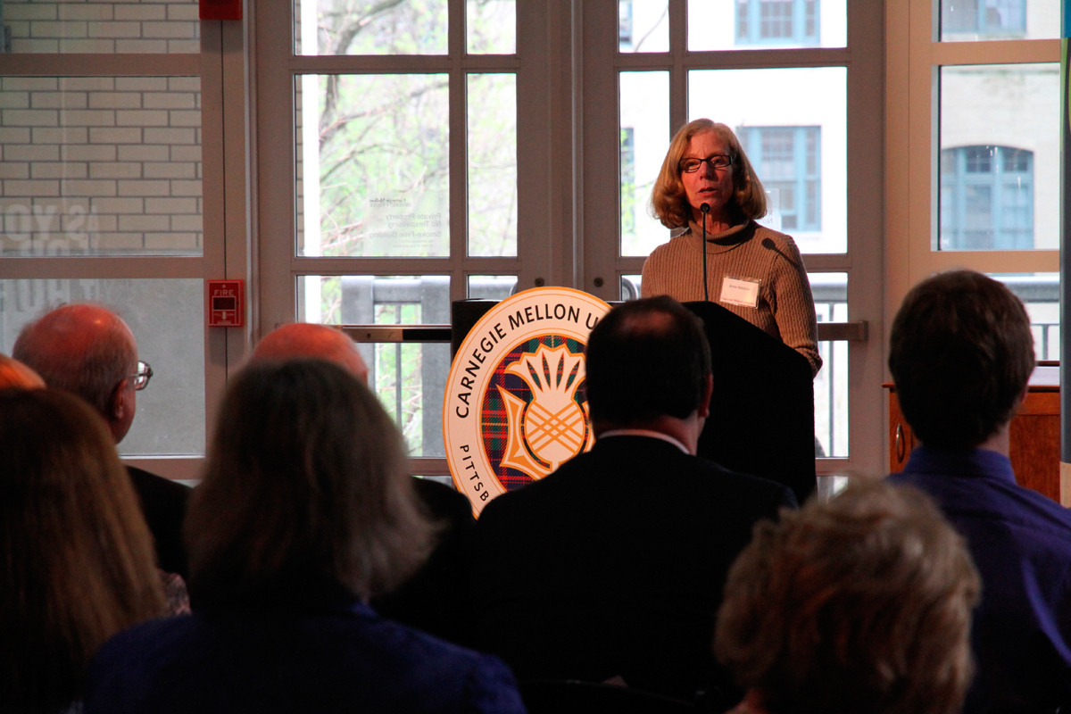 Assistant Dean of Student Affairs Anne Witchner was one of the speakers at the ceremony held to honor Zaslow. (credit: Jonathan Carreon/Contributing Editor)
