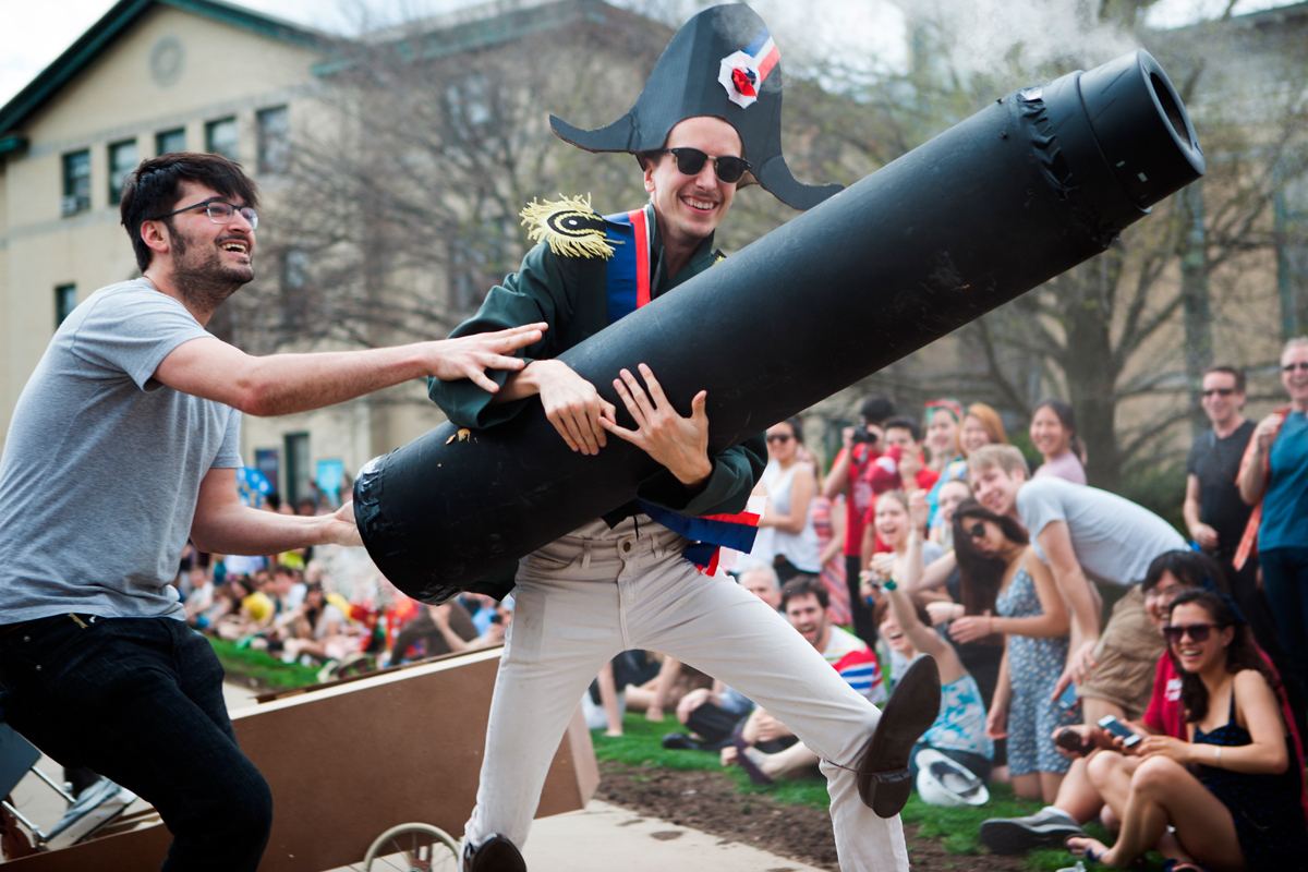 Two students, one dressed as Napolen, wield a cannon that spewed smoke. (credit: Jonathan Leung/Assistant Photo Editor)