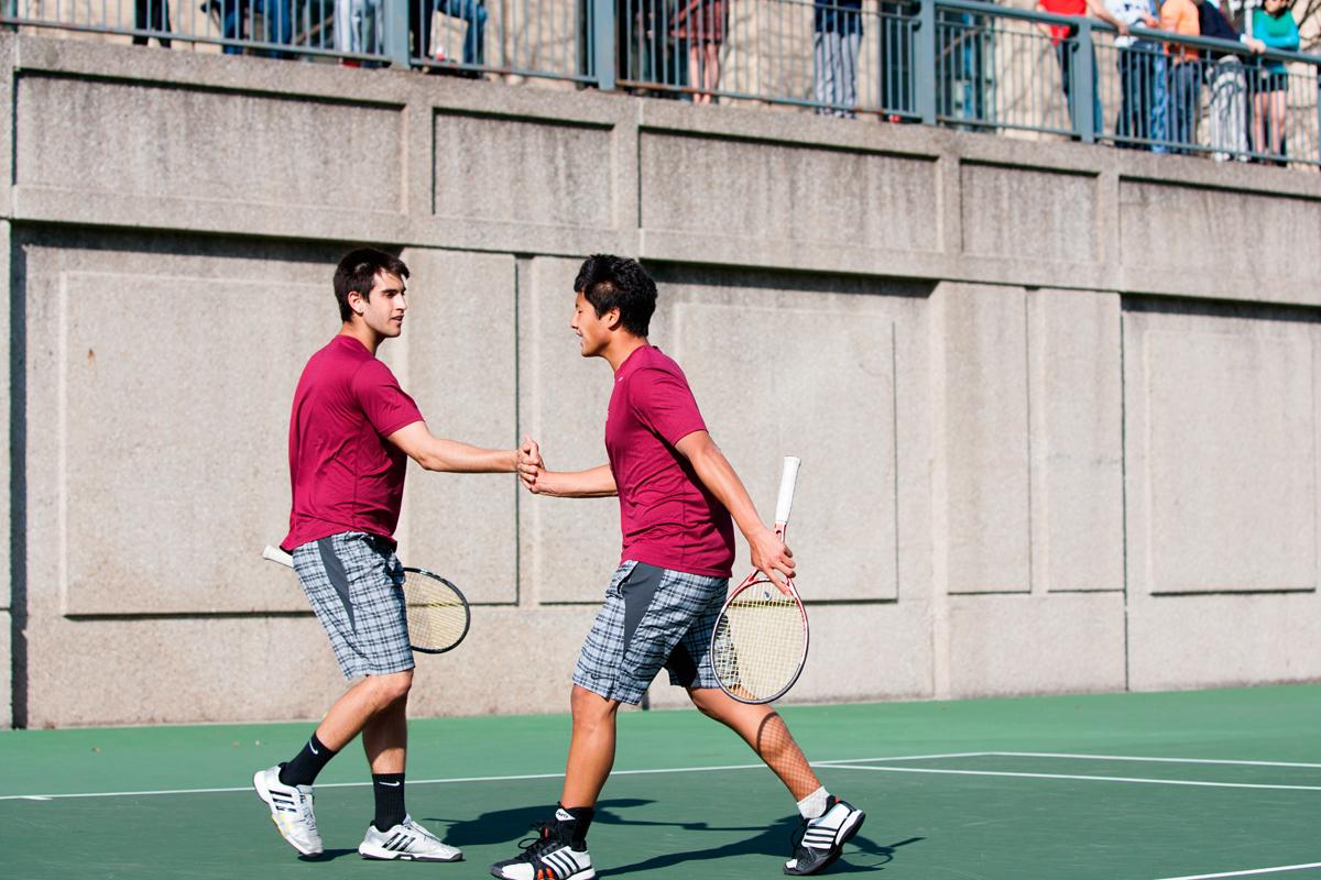 Sophomore Thomas Cooper and senior Jooho Yu beat Emory University at No. 2 doubles on Saturday. (credit: Jonathan Leung/Assistant Photo Editor)