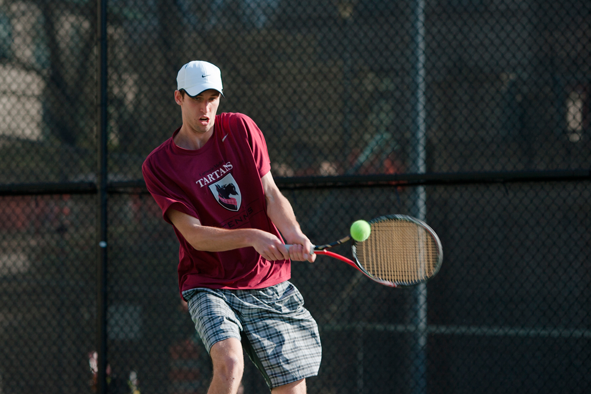 Sophomore Christian Heaney-Secord beat Eric Halpern from Emory University in the No. 1 singles match on Saturday, but lost to Christopher Krimbill from Case Western Reserve University on Sunday. (credit: Jonathan Leung/Assistant Photo Editor)