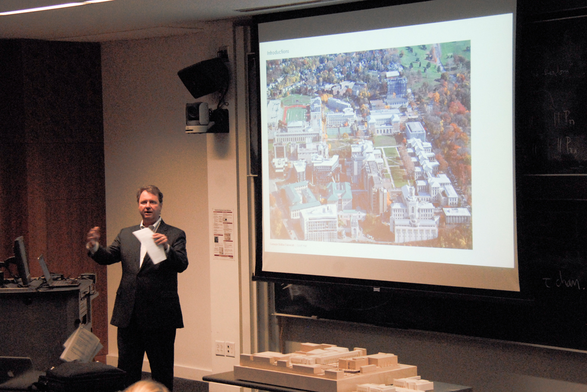 Ralph Horgan, the university's associate vice provost of Campus Design and Facility Development, describes construction projects for Scott Hall and an addition to the University Center last Tuesday. (credit: Kate Groschner/Photo Editor)
