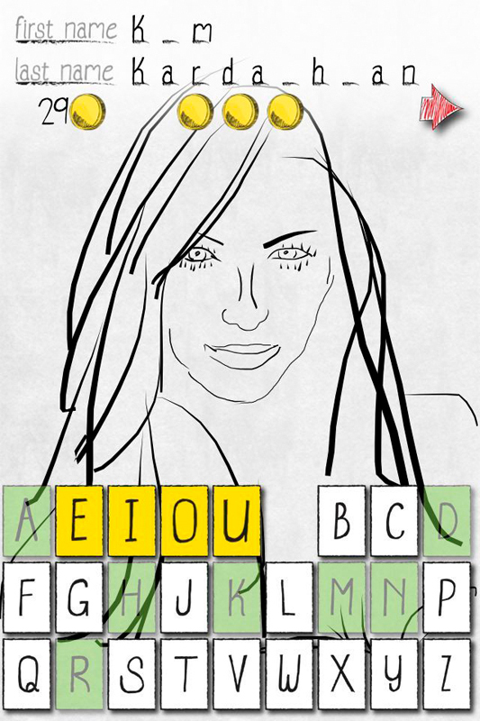 In DrawAFriend, one player attempts to draw the outline of a celebrity or a mutual friend with the other participant while the other player attempts to guess the identity of the person. Above are two screenshots from the app. (credit: Courtesy of Alex Limpaecher)