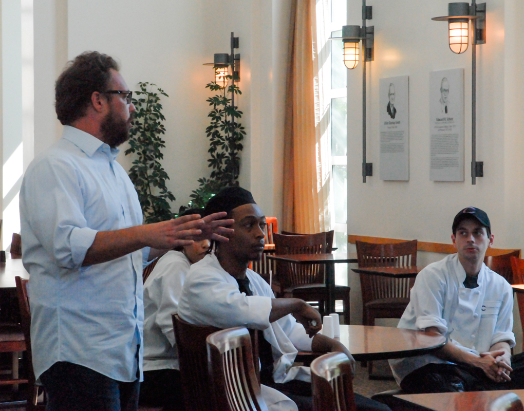 CulinArt employees hold a meeting in Schatz Dining Room in the University Center to discuss ways to increase wages.  (credit: Kate Groschner/Photo Editor)