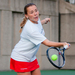 First-year Nicholle Torres reaches for a forehand as she won her singles match 6–0, 6–0. The Tartans next play in the ITA Regional Tournament in Fredericksburg, Va. this Saturday.