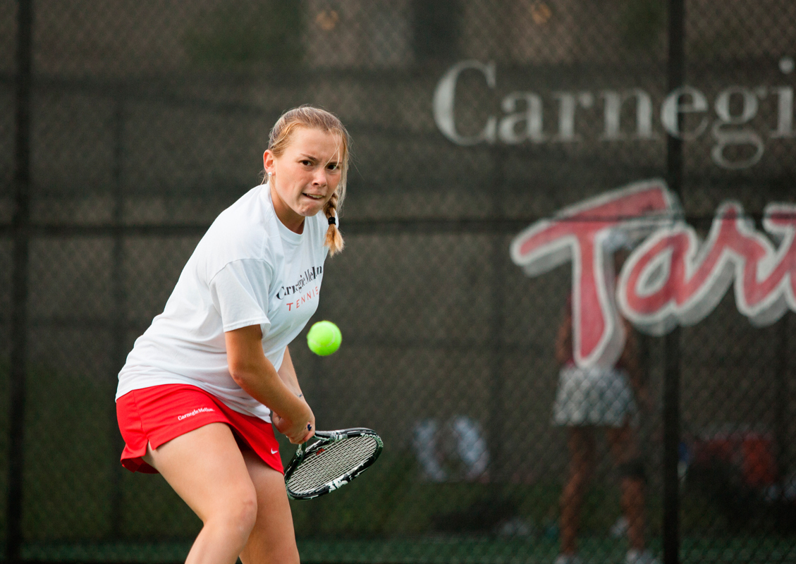First-year Nicholle Torres readies her backhand against Grove City. (credit: Jonathan Leung/Assistant Photo Editor)