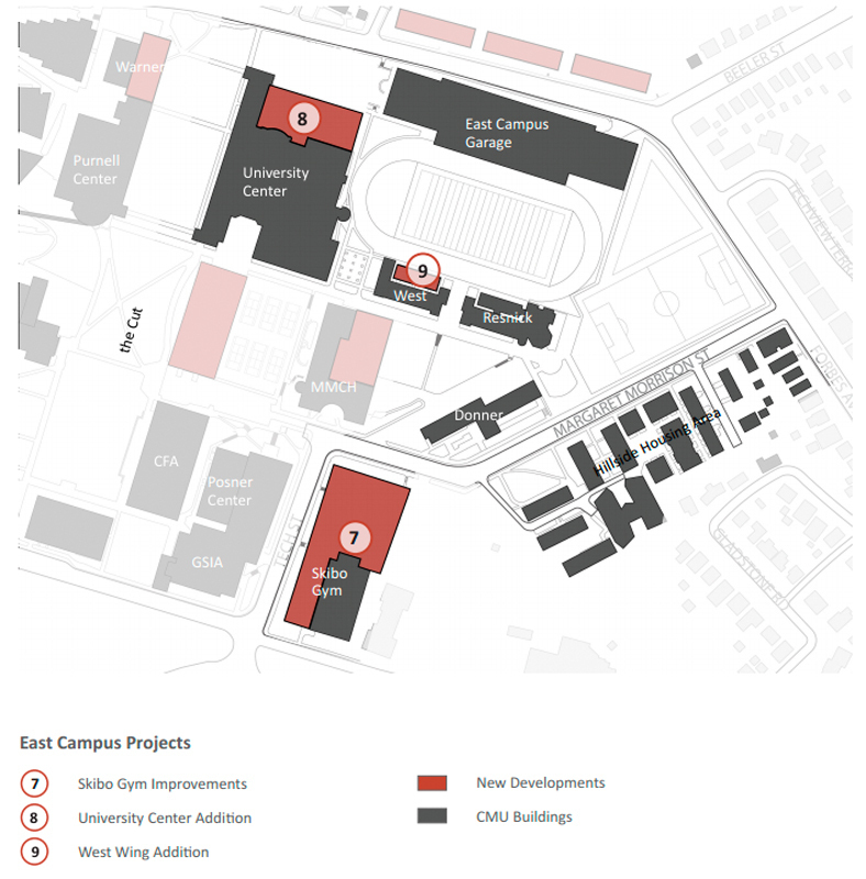 A diagram from the master plan showing the planned developments to certain areas on campus.  (credit: Courtesy of Institutional Master Plan)