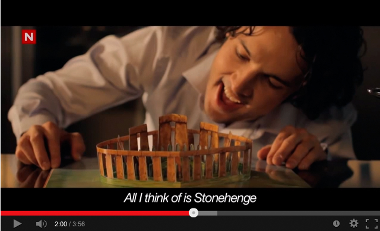 """In the music video for Ylvis' """"Stonehenge,"""" the main character's obsession with the archaeological  monument constantly preoccupies him, even  compromising his sex life. (credit: Screenshot courtesy of youtube.com)"""