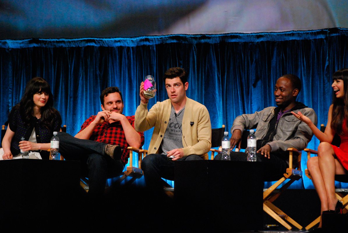 New Girl's season three premiere presents some challenges for many of the returning characters. Schmidt (Max Greenfield, center) must choose between Cece (Hannah Simone, far right) and a high school girlfriend (Merritt Wever). Meanwhile, the relationship between protagonist Jess (Zooey Deschanel, far left) and her roommate Nick (Jake Johnson, second from left) will continue to evolve in the new season. (credit: Courtesy of Wikimedia Commons)