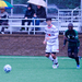 Junior Colin Shaffer controlling the ball against Bethany College with first-year Tristan Lockwood in the background.