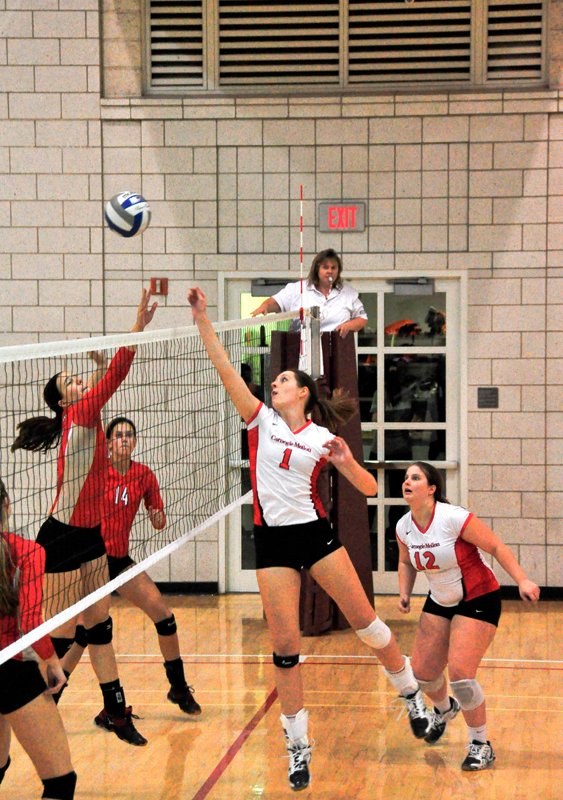 First-year Molly Higgins going up for a serve against Otterbein University on Friday night in Wiegand Gym. The Tartans will play against Frostburg State University at home this Tuesday.  (credit: Jason  Chen/Junior Photographer)