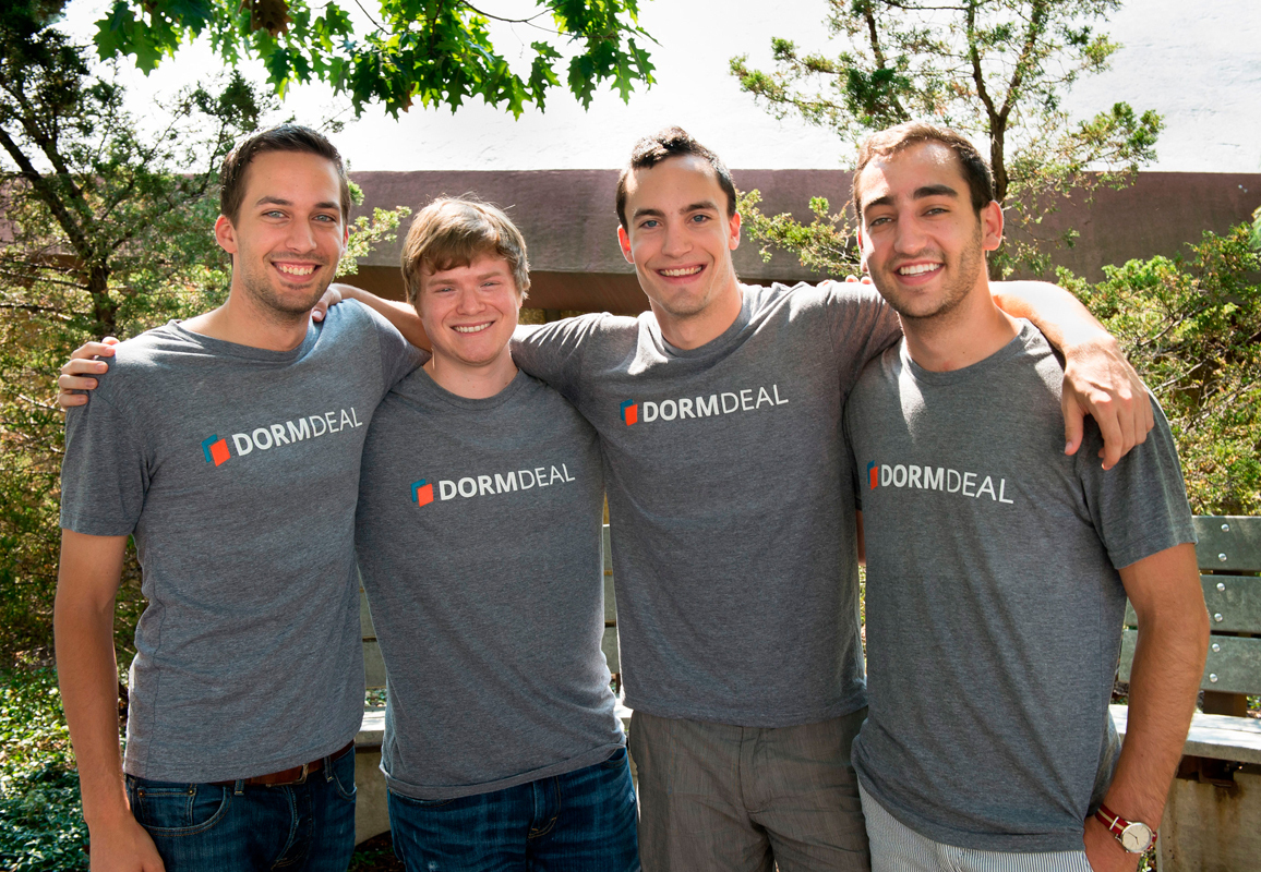 Carnegie Mellon alumni (from left to right) Jonathan Bender, Collin Buchan, Nolan Carrol, and Patrick Hogan created a startup that provides a safe environment for students to buy and sell products. (credit: Courtesy of Jonathan Bender)