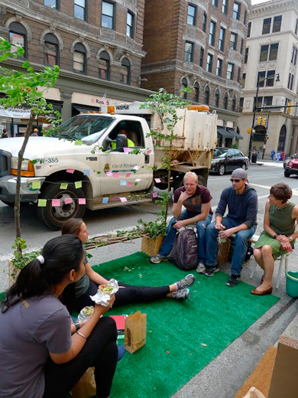 Friday was PARK(ing) Day, a worldwide event for which volunteers turned metered parking spaces into small parks.   (credit: Courtesy of Emily Abell)
