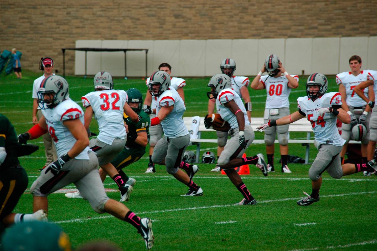 Senior safety Jack Butler returns an interception. (credit: Kelsey Scott/Operations Manager)