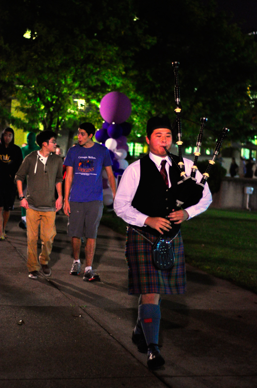 Sophomore CFA student Stanton Man plays bagpipes as part of Relay.  (credit: Jason  Chen/)