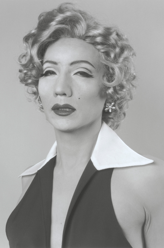 "In ""Self Portrait (B/W) - After Marilyn Monroe,"" Japanese artist Yasumasa Morimura poses as the blond pop culture icon. (credit: Courtesy of Yasumasa Morimura and Luhring Augustine)"