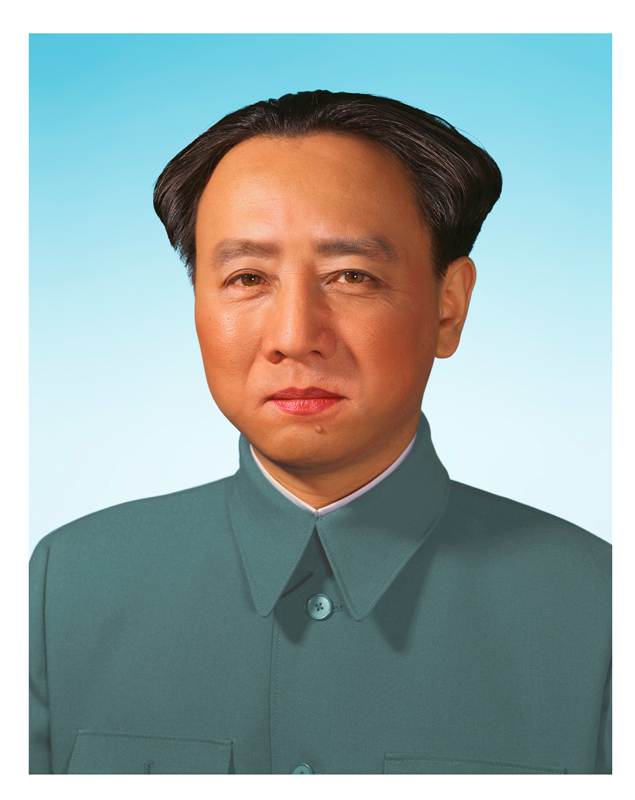 "The artist pastes his face over Mao Zedong's portrait in ""A Requiem: Red Dream / Mao."" (credit: Courtesy of Yasumasa Morimura and Luhring Augustine)"