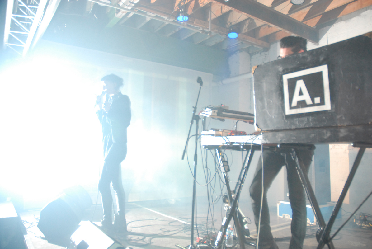 Detroit-based synth pop duo ADULT. got attendees moving and sweating at Saturday's A / V Showcase as part of the 2013 VIA Festival. (credit: Martha Paterson/)