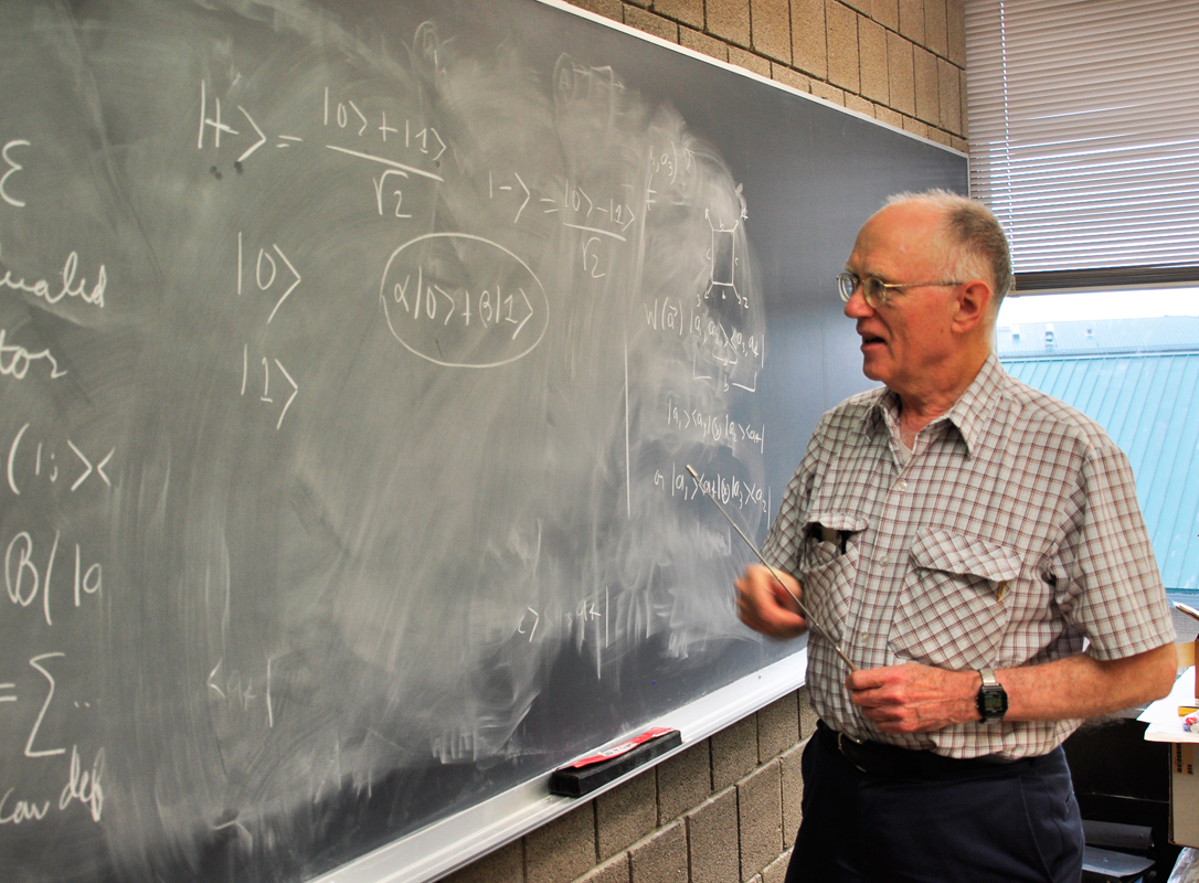 Professor Robert Griffiths explains the differences between quantum computing and classical computing. (credit: Peter Lee/Staff Photographer)
