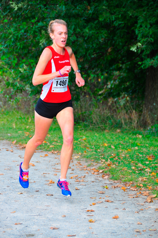 Junior Erin Kiekhaefer led the women's cross country team. She finished first for the Tartans and eighth overall.  (credit: Jason  Chen/Staff Photographer)