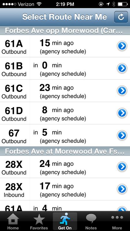 The bus app Tiramisu shows estimated arrival times for bus stops. (credit: Courtesy of Tiramisu)