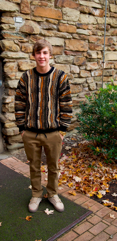 First-year mechanical engineering major Evan Adkins flaunts a sweater with a distinctive knit. (credit: Sara Remi Fields/)