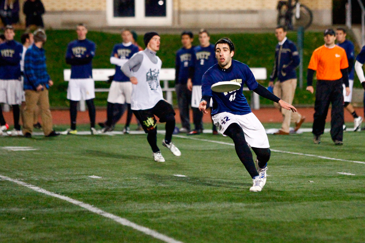 The Carnegie Mellon men's ultimate frisbee team, Mr. Yuk, hosted an exhibition game between the University of Pittsburgh and Penn State University on Friday night in Gesling Stadium.  (credit: Jonathan Leung/Assistant Photo Editor)