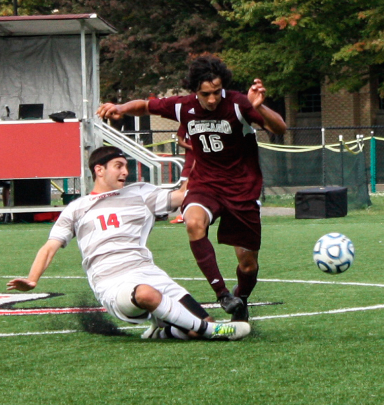 Junior midfielder Colin Shaffer had one shot against Emory. The team outshot Emory 29 to 12. (credit: Staff Photographer)