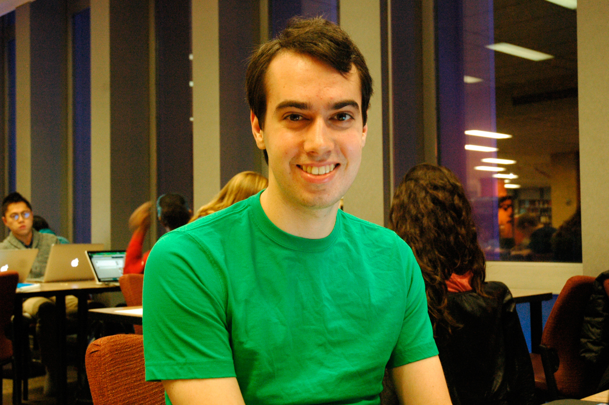 """Brendan Badia ECE, Economics Junior  """"Listen to students who have more ideas than me."""" (credit: Justin McGown/Online Editor)"""