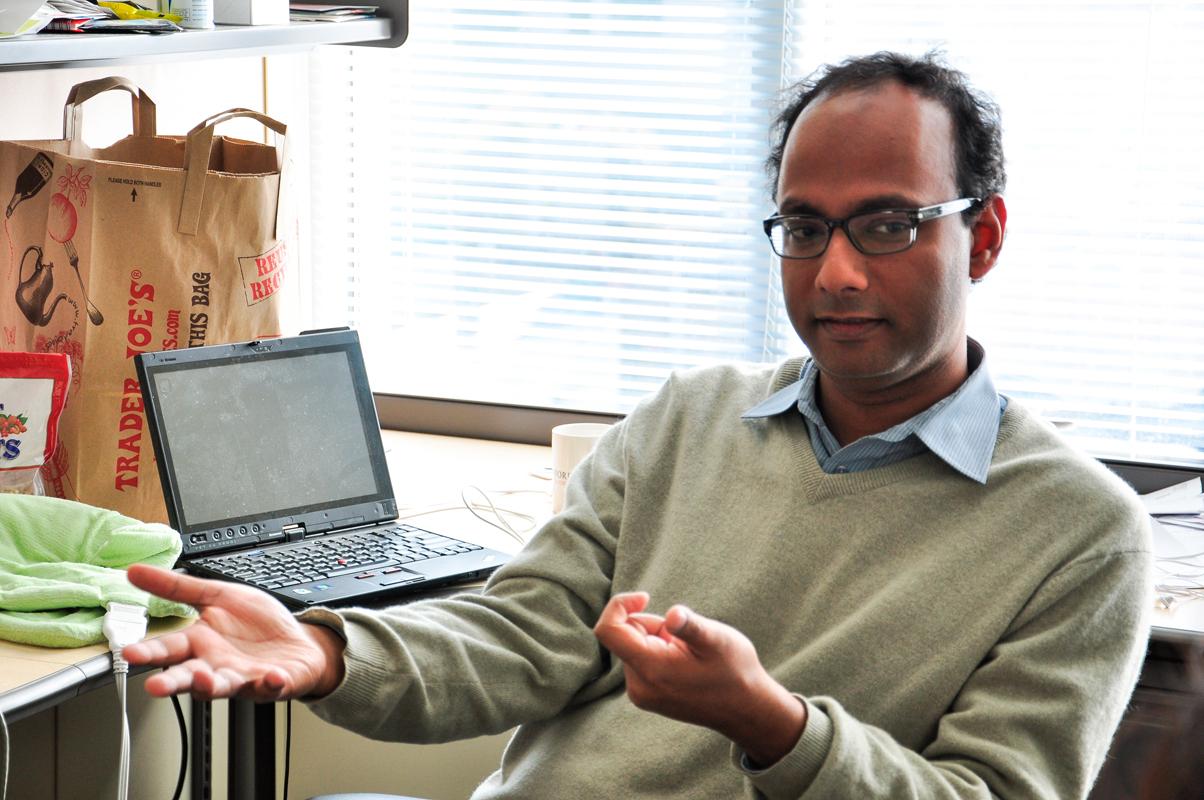 Anupam Datta, one of Blocki's advisors, explains how inkblots can improve password security. (credit: Peter Lee/Staff Photographer)