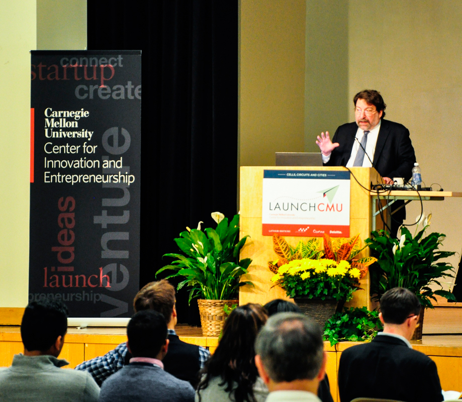 Provost Mark Kamlet introduces attendees at LaunchCMU (credit: Peter Lee/Staff Photographer)