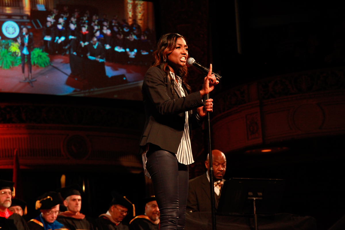 """Patina Miller (CFA '06) performed """"Corner of the Sky."""" (credit: Michelle  Wan /)"""