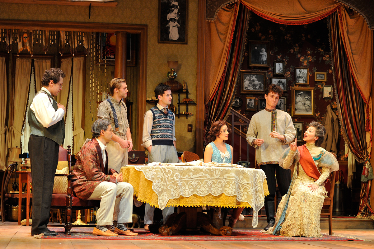 School of Drama students portray an eccentric range of characters in You Can't Take It With You. Pictured from left is Alice's brother-in-law Ed (Mitch Marois), his wife Essie (Michelle Veintimilla), Essie's ballet teacher Boris (Michael McGuire), and Boris's friend Olga (Claire Saunders). (credit: Courtesy of Dennis Schebetta)