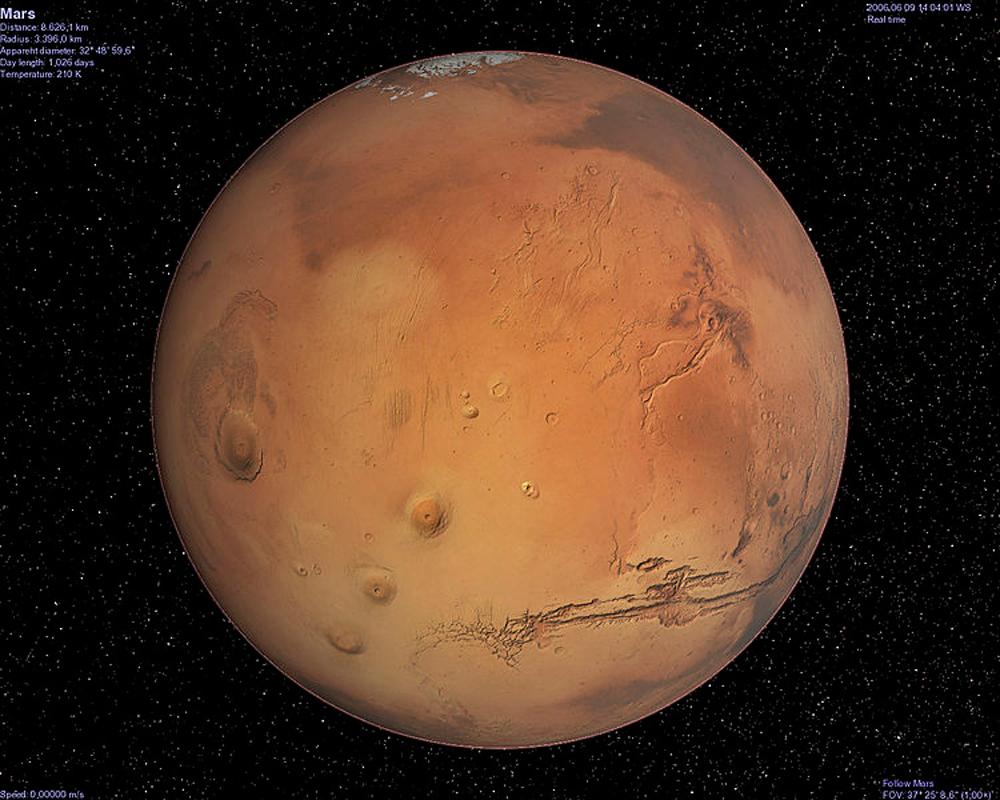 The planet Mars, as seen from Celestia, a 3-D astronomy program. (credit: Courtesy of Wikimedia Commons)