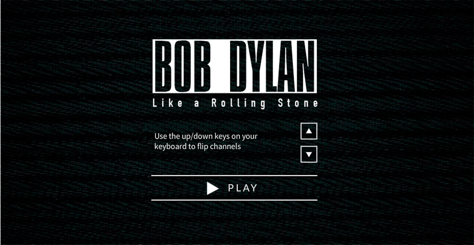 The opening frame of Heymann's video invites viewers to use the interactive channel-flipping feature. (credit: Screenshot courtesy of _video.bobdylan.com_)