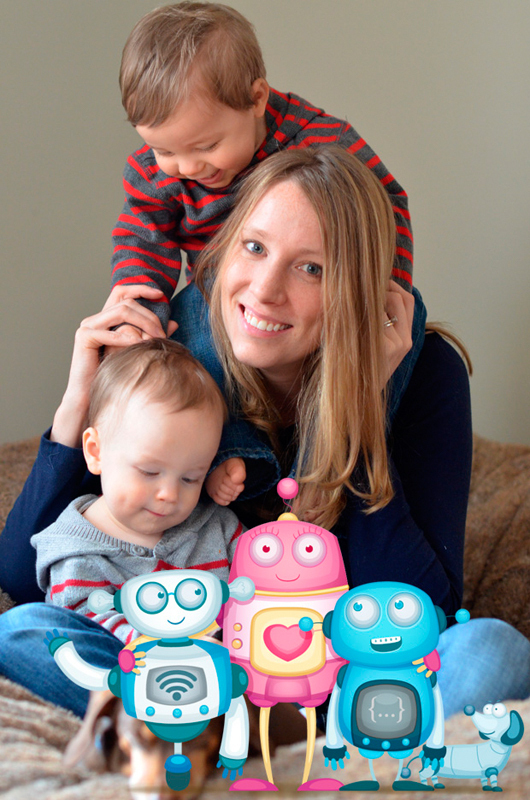 DeLuca and her twin boys pose alongside the characters of her children's book, A Robot Story. (credit: Courtesy of Lisa Seacat DeLuca)