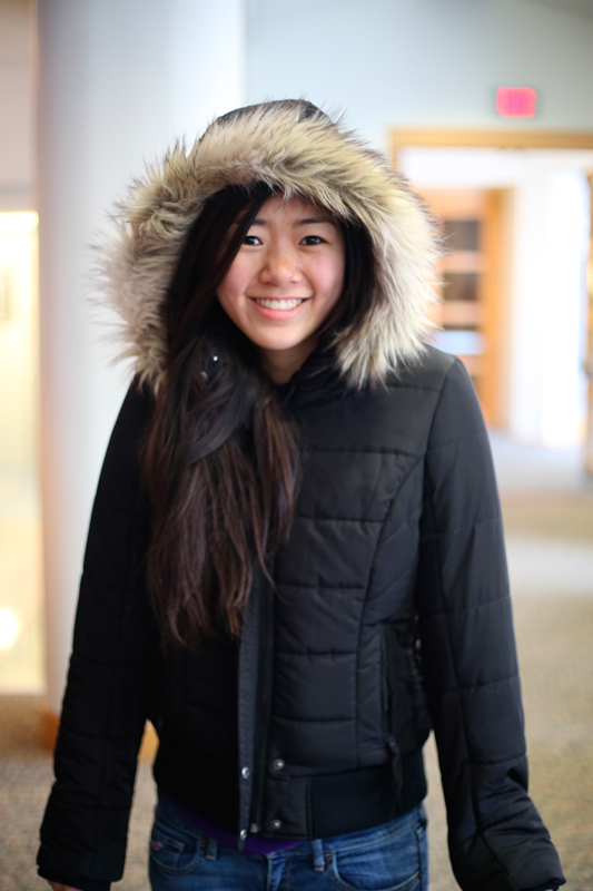 Freshman Samantha Ho keeps up with recent trends with her jacket. (credit: Sara Remi Fields/)