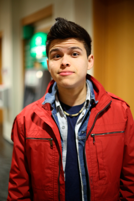 Sophomore ECE major Mauricio Cano sports a boxy jacket, a current fashion trend for 2014. (credit: Sara Remi Fields/)