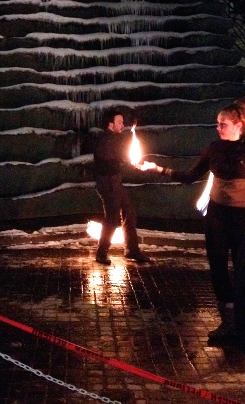Performing three times over the course of the night in Agnes R. Katz Plaza, Steel Town Fire wowed audiences with their graceful dancing that incorporated flaming objects. (credit: Joey Peiser/Pillbox Editor)