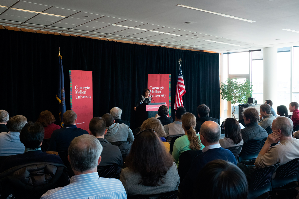 Nicole Wong, the deputy U.S. chief technology officer, speaks at CMU.